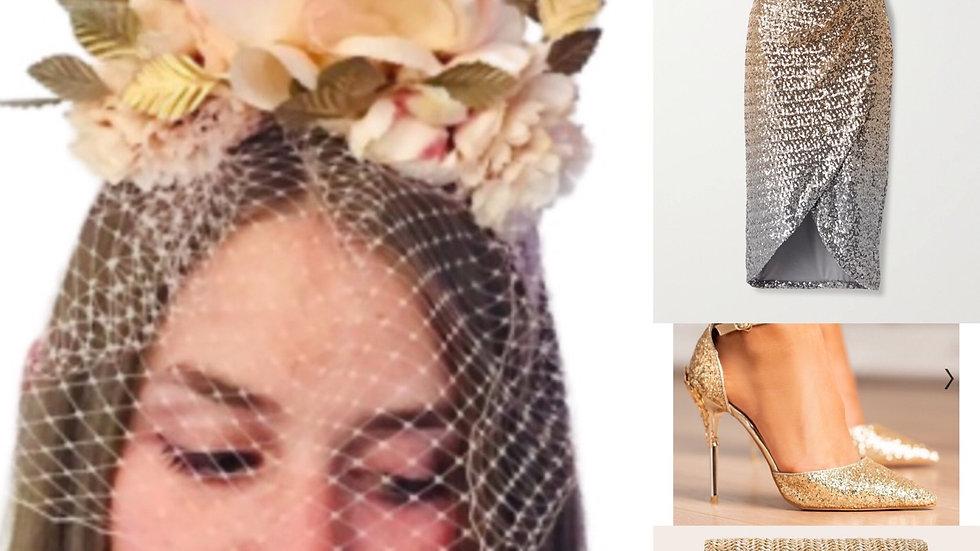 Peach/Gold Birdcage Flower Crown