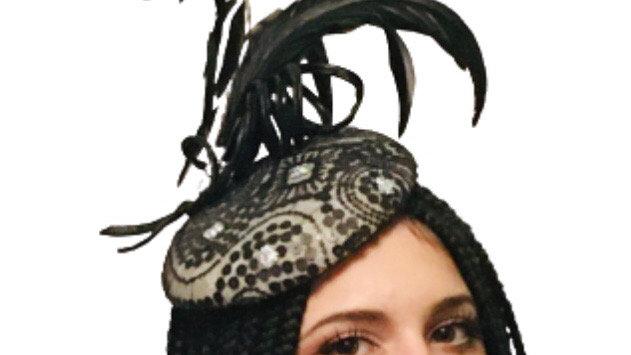 Black Wedding Feather Pillbox Hat
