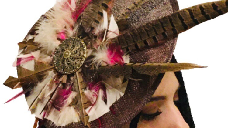 Brown Pheasant Feather Hat