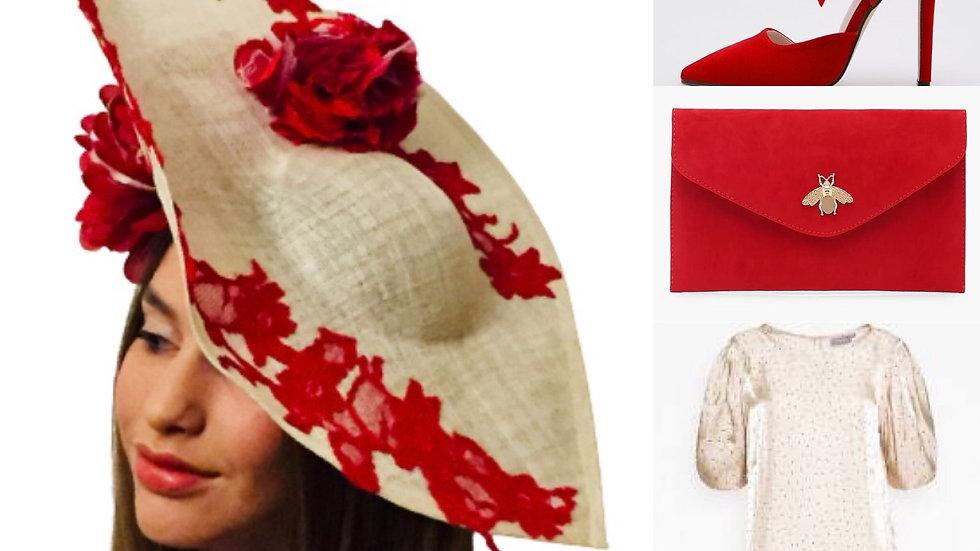 "Red/lvory Flower ""60,s"" Hat"