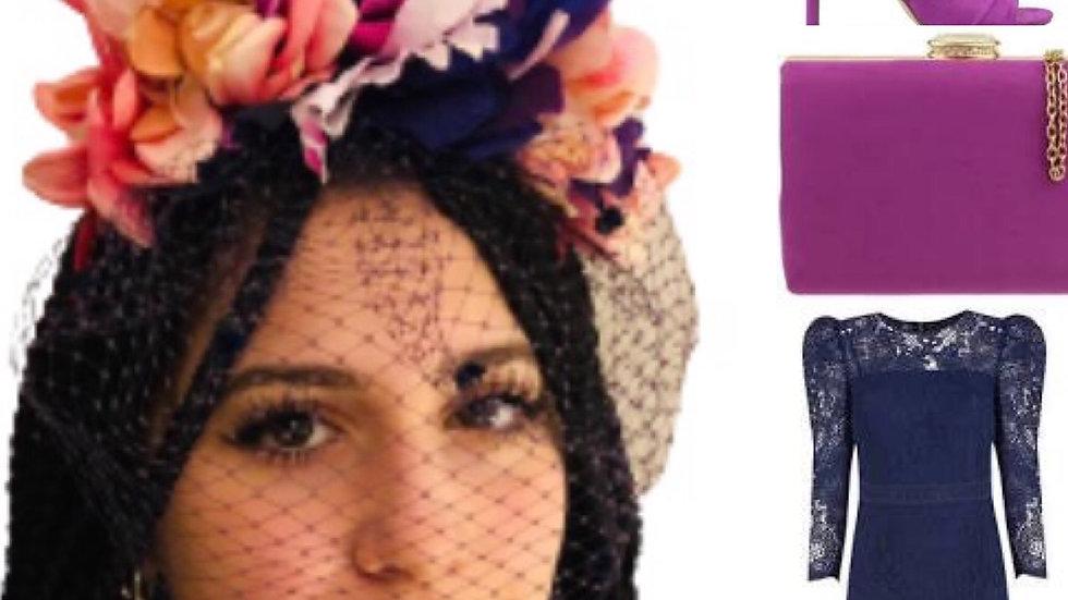 Purple/Cerise Birdcage Flower Crown
