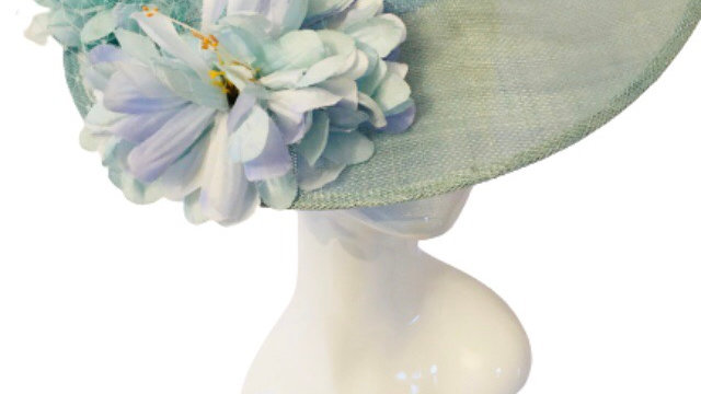 Turquoise Wide Brimmed wedding Hat