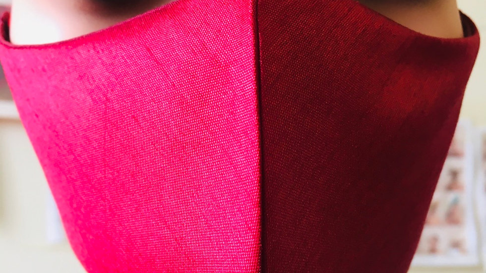 Burgundy Raw Silk Mask
