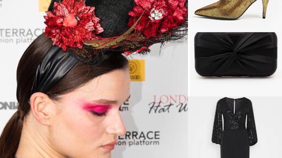 """Black Peacock Feather """"Circus"""" Hat"""