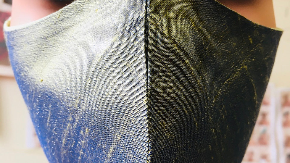 Green Raw Silk Mask