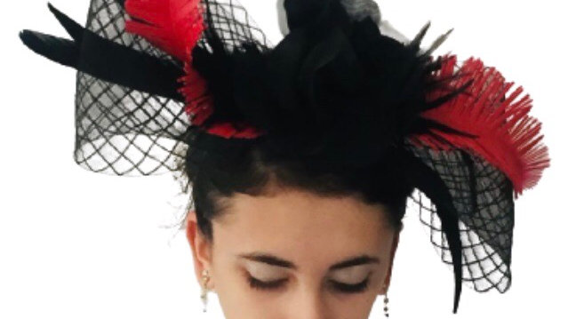 Black/Red Bow Fascinator
