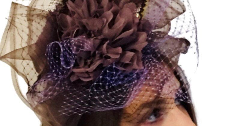 Brown Flower Wedding hat