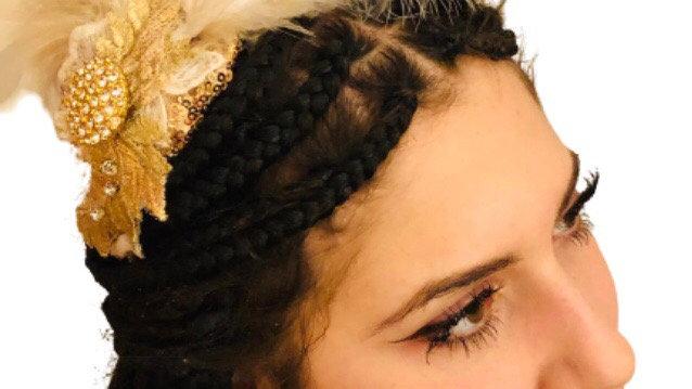 Gold/white Feather Wedding Fascinator
