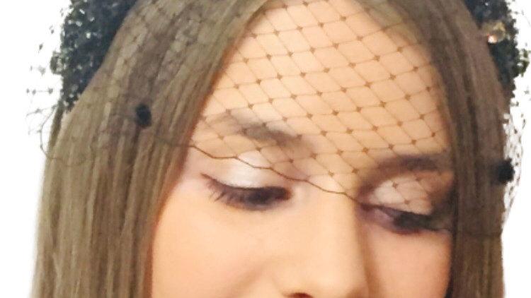 Black Beaded Headband with Birdcage Veil