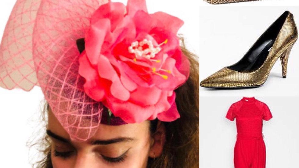 Cerise Pink Wedding Fascinator with Flower