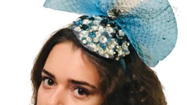 Turquoise Fascinator with Crinoline