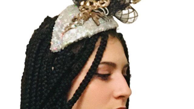 Silver /Black Sequin Wedding Fascinator