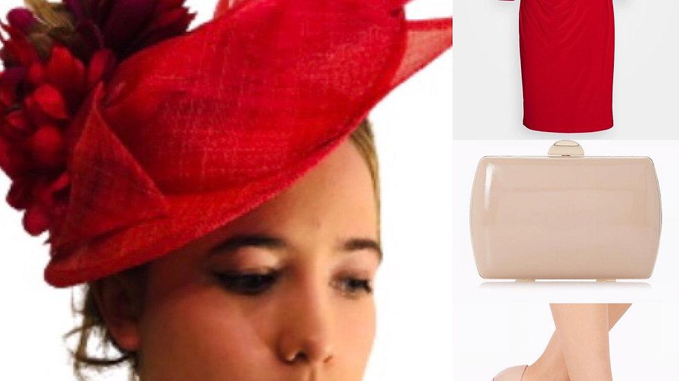 Red/Cerise Wedding Flower Hat