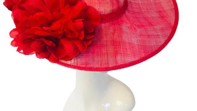 Red Wide Brimmed wedding Hat
