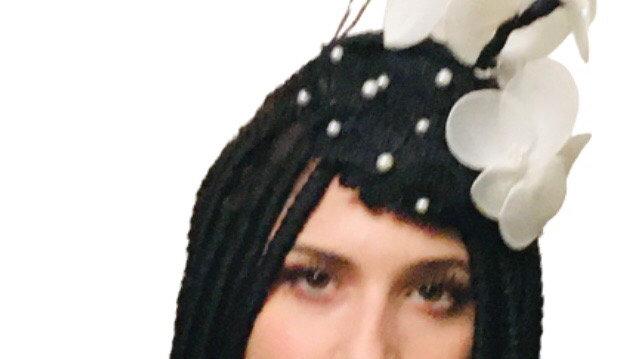 Black Wedding Flower Pillbox Hat