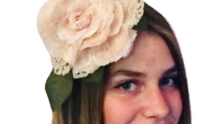 Peach Flower Wedding Fascinator