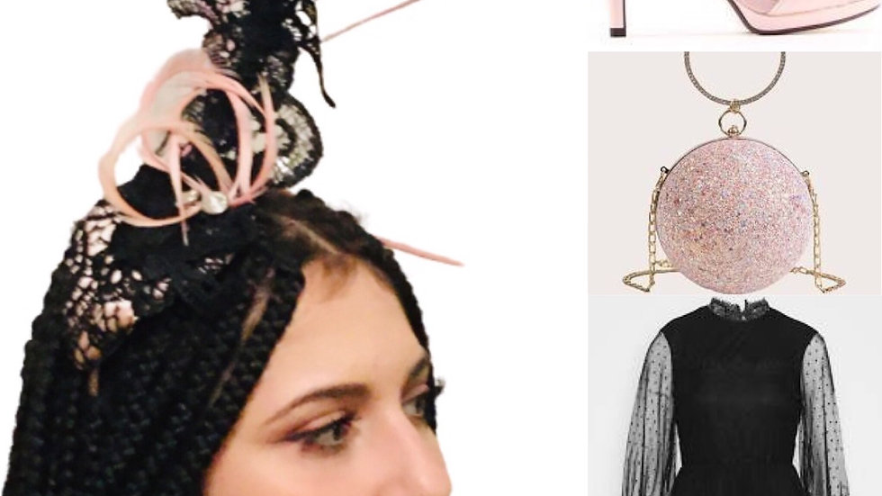 Black Lace/Feathers Wedding hat