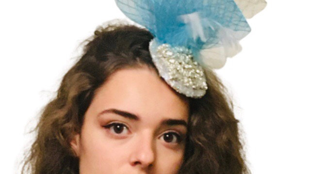 Turquoise/Silver Crystal Fascinator