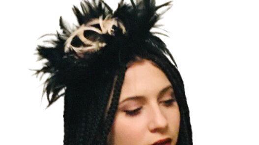 Black Feathers Wedding hat