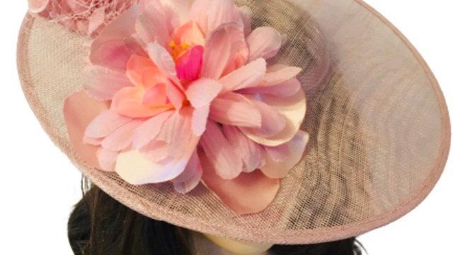 Pink Wide Brimmed wedding Hat