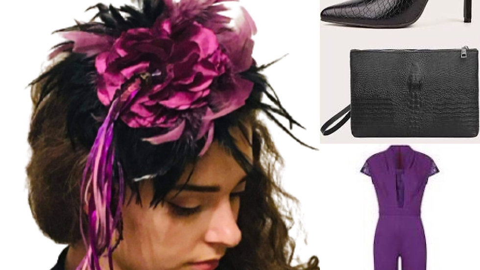 Black/Purple Feathers Wedding Hat