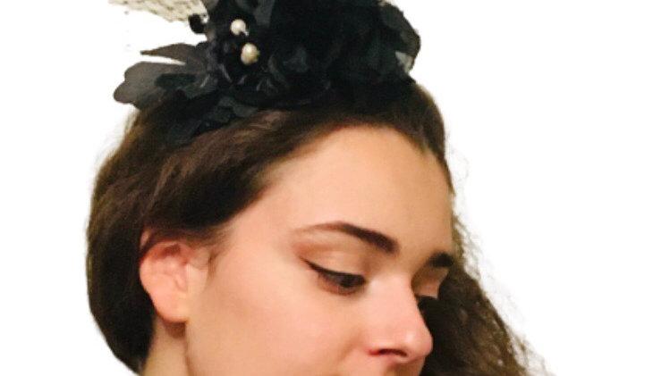 Black Flower Wedding Fascinator with Pearls
