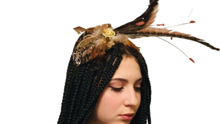 Brown Feather Wedding Hat