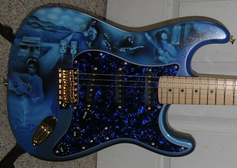 Custom Airburshed Blues Guitar