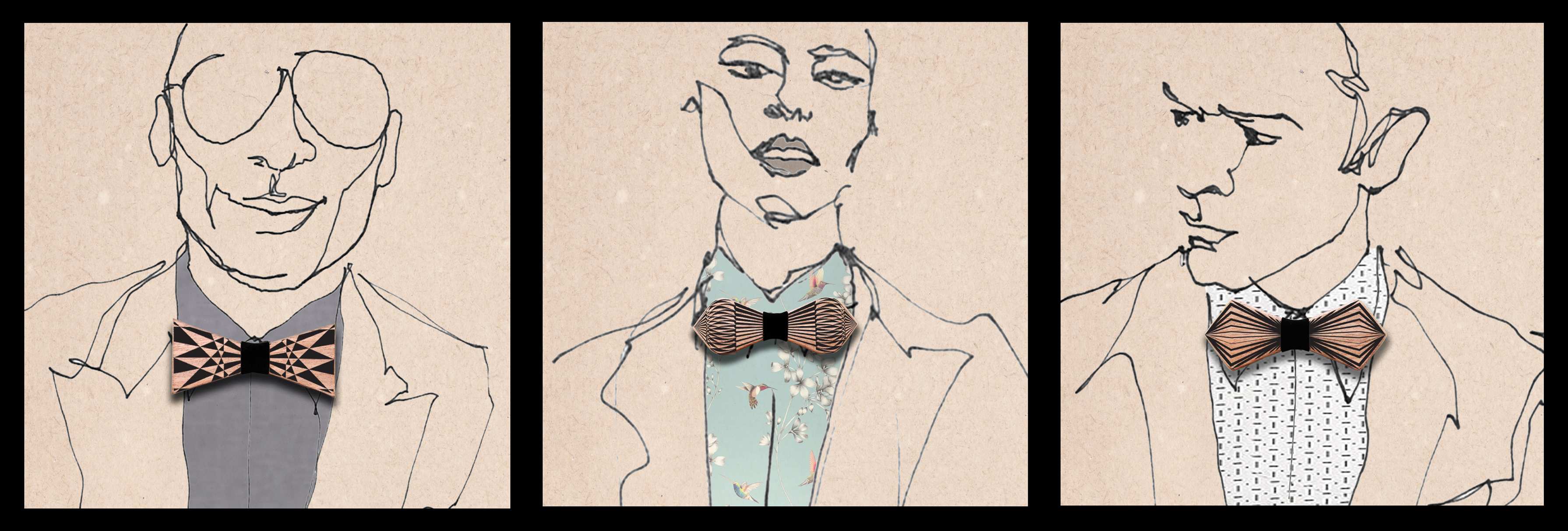 DOUBLE SIDED WOOD BOWTIE