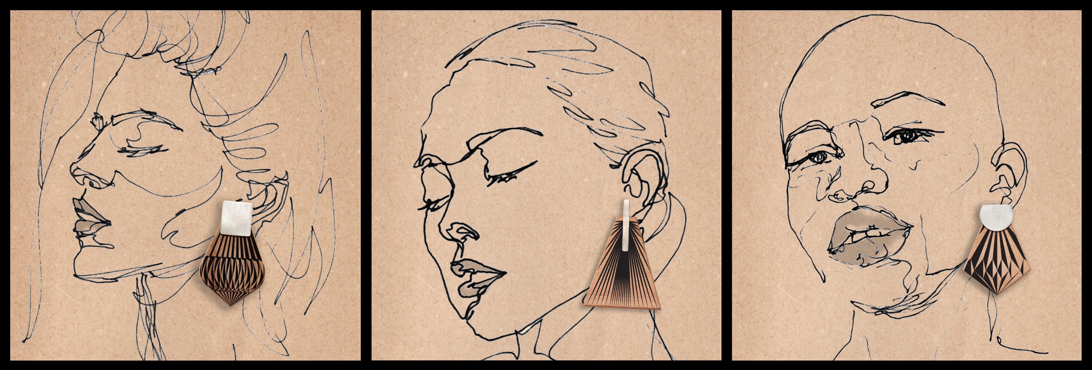 SILVER STUD-DOUBLE SIDED WOOD EAR