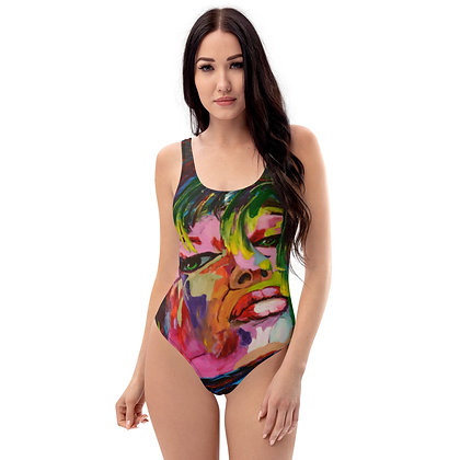 Sassy All-Over Print One-Piece Swimsuit (Black)