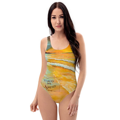 Forever & Always All-Over Print One-Piece Swimsuit (White)