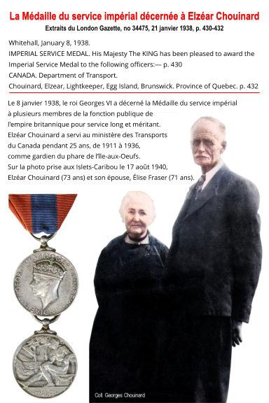 Chouinard Elzéar 1938 Médaille Service I