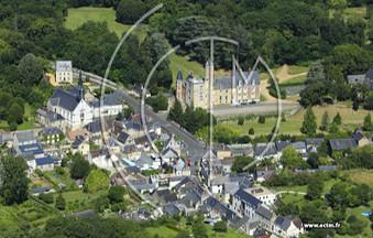 Vue aérienne du village de Beaumont-la-Ronce