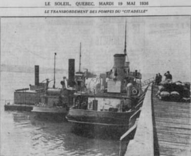 Le bateau-citerne Citadelle à Québec, en 1936