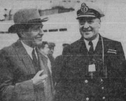 Le capitaine du brise-glace C.D. Howe, Albini Chouinard, de retour d'une mission dans l'Arctique.