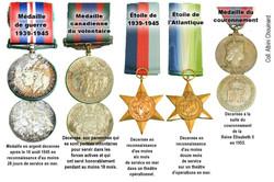 Les médailles d'Albini Chouinard, 2e guerre 1939-1945