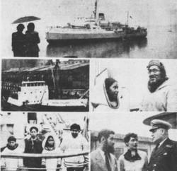 Le capitaine Albini Chouinard, commandant à bord du brise-glace C.D. Howe de la patrouille de l'Arct
