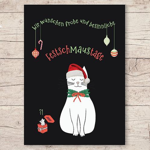 Wir wünschen frohe und besinnliche FestschMausTage - Weihnachtskarte DIN A6
