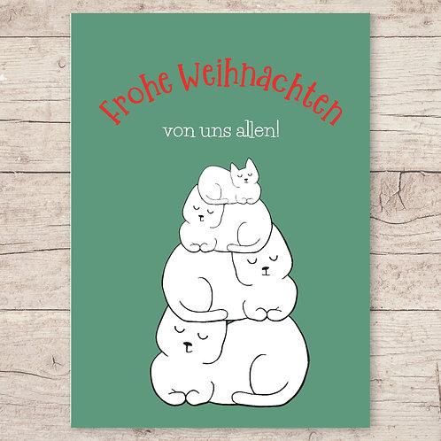 Frohe Weihnachten von uns allen! Weihnachtskarte DIN A6