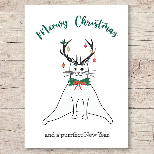 Meowy Christmas and a purrrfect New Year - Weihnachtskarte DIN A6
