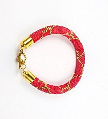 Bracelet python rouge et doré