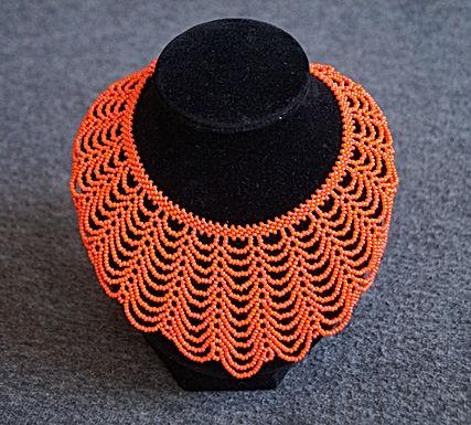 Collier perles orange