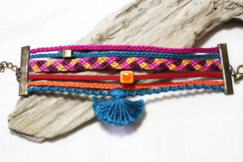Bracelet  pompon coloré