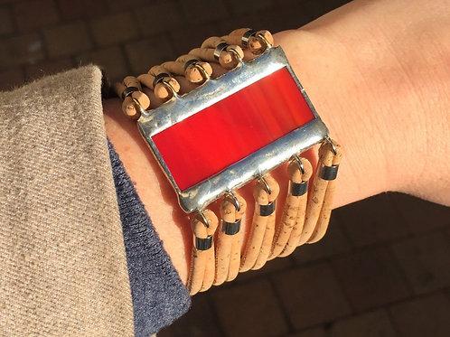 Bracelet vitrail rouge