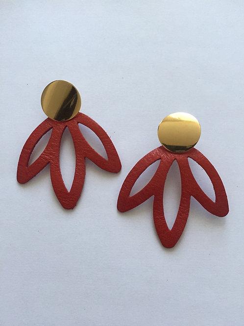 Boucles d'oreilles cuir rouge