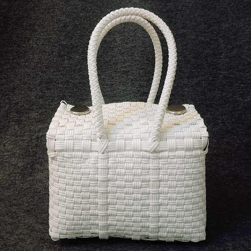 Panier plastique recyclé blanc