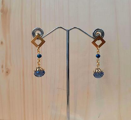 Boucles d'oreilles bleues et dorées