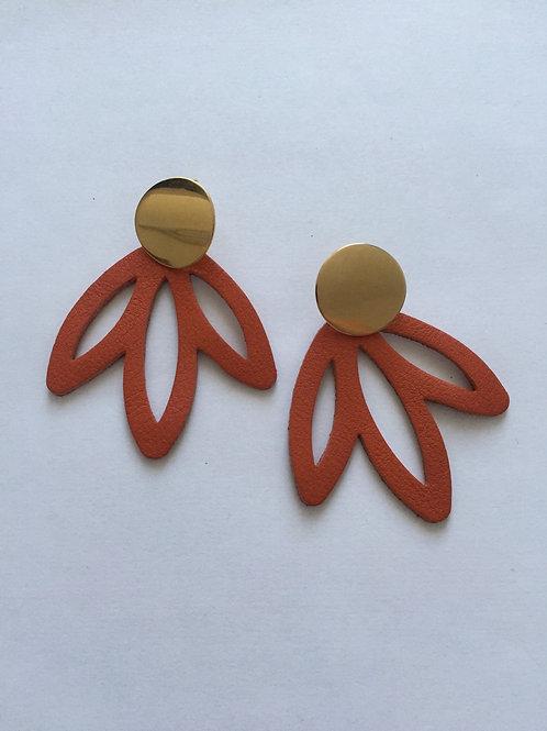 Boucles d'oreilles cuir marron