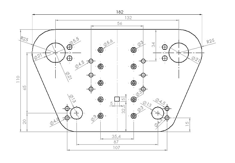Technical drawing of the machined part measured here